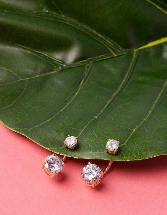 Сережки двосторонні з кристалами | 229022-08-XX