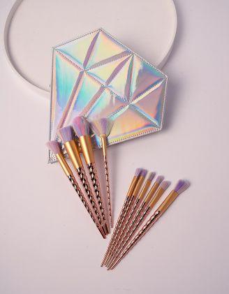 Набір пензликів для макіяжу у голографічному футлярі діаманті   238475-05-XX
