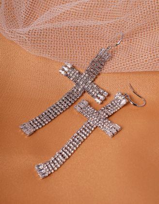 Сережки хрести довгі зі стразами | 239816-06-XX