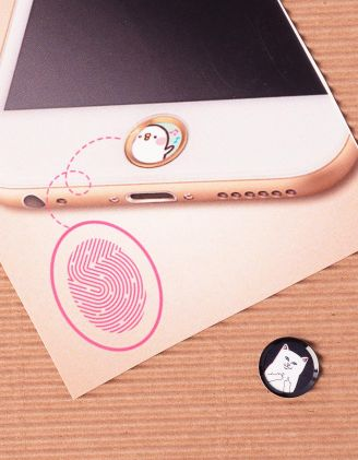 Наліпка на телефон на кнопку  HOME з принтом кота факера | 239886-02-XX