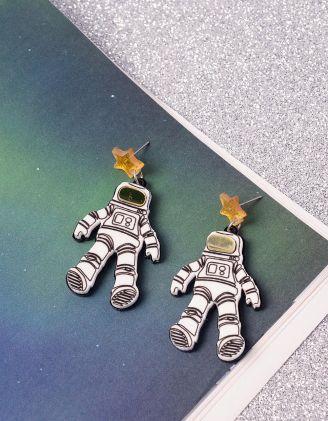 Сережки молодіжні довгі у вигляді космонавтів | 240603-21-XX