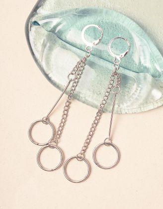 Сережки довгі із ланцюжків з кільцями | 240726-05-XX