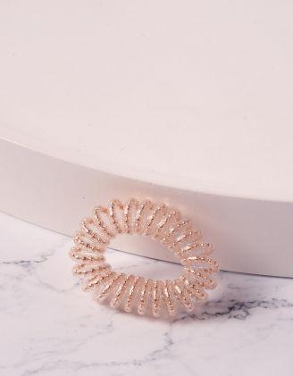 Резинка для волосся спіральна прозора з намистинами | 240278-04-XX