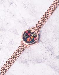 Годинник з квітковим принтом та металевим ремінцем   237268-55-XX
