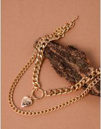 Підвіска на шию з подвійного ланцюга та з медальоном у вигляді серця | 238069-04-XX
