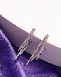 Сережки фігурні з камінцями | 239977-06-XX