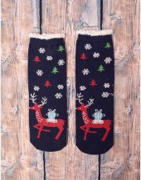 Шкарпетки теплі з новорічним принтом | 239518-30-XX