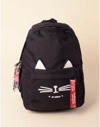 Рюкзак об ємний з малюнком кішки та вушками на кишені | 237949-02-XX