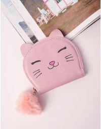 Гаманець з принтом кішки та хутряним брелоком | 238386-14-XX