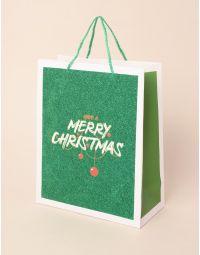 Пакет подарунковий новорічний з написом | 240043-20-XX