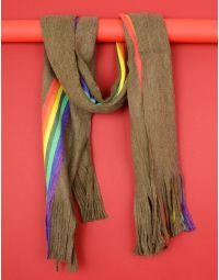 Шарф з кольоровою смужкою та китицями   235505-38-XX