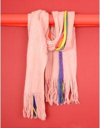 Шарф з кольоровою смужкою та китицями | 235505-14-XX
