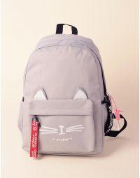 Рюкзак об ємний з малюнком кішки та вушками на кишені | 237949-11-XX