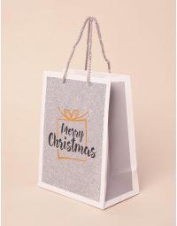 Пакет подарунковий новорічний з написом | 240045-05-XX