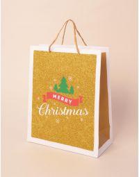 Пакет подарунковий новорічний з написом | 240043-04-XX