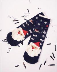Шкарпетки святкові з принтом санта клауса | 227892-13-XX