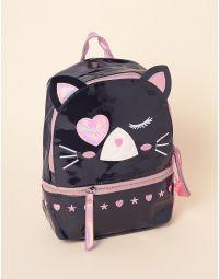 Рюкзак лаковий у вигляді кішки з вушками та серцями | 237956-02-XX