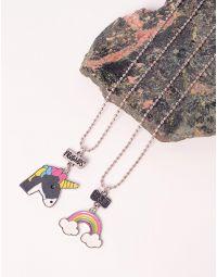 Підвіска парна з кулонами у вигляді єдинорога та веселки | 238322-21-XX