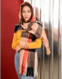 Шарф на пальто у клітинку з китицями   239895-39-XX