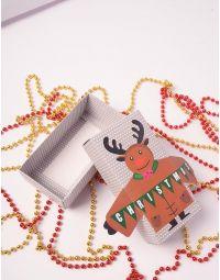 Коробка подарункова новорічна  з оленем | 240141-12-XX