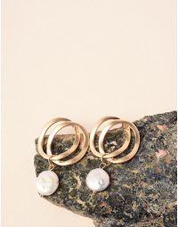Сережки із кілець з перлинами   237625-08-XX