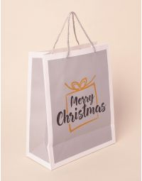 Пакет подарунковий новорічний з написом | 240043-05-XX