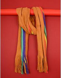 Шарф з кольоровою смужкою та китицями | 235505-34-XX