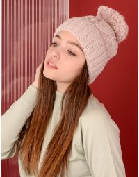 Шапка з бубоном та плетеними косами | 220239-14-XX