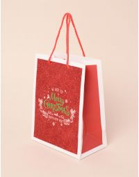 Пакет подарунковий новорічний з написом | 240045-15-XX