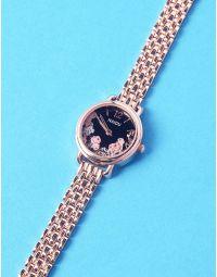 Годинник з квітковим принтом та металевим ремінцем   237268-09-XX