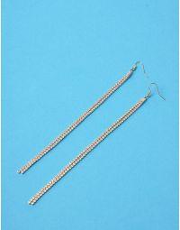 Сережки довгі подвійні інкрустовані стразами | 235968-08-XX