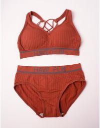 Комплект білизни жіночої у смужку з написом | 238447-43-03