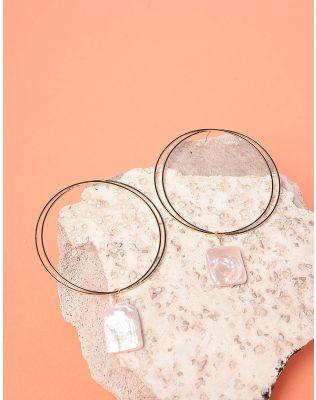 Сережки кільця з перлинами   237727-08-XX
