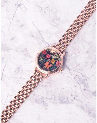 Годинник з квітковим принтом та металевим ремінцем | 237268-55-XX