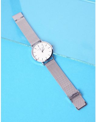 Годинник з металевим ремінцем та круглим циферблатом | 237301-05-XX