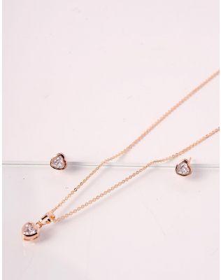 Комплект із підвіски та сережок у вигляді сердець | 238751-08-XX