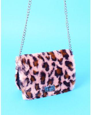 Сумка на ланцюжку з леопардовим принтом на хутрі   236645-71-XX