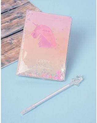 Блокнот з принтом єдинорога у комплекті з ручкою | 238679-01-XX