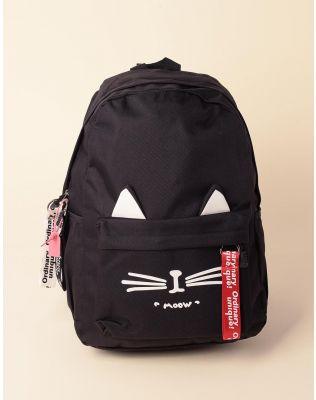 Рюкзак об ємний з малюнком кішки та вушками на кишені   237949-02-XX