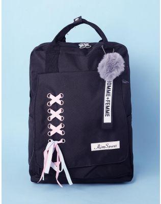 Рюкзак з хутряним брелоком та шнуровкою   237294-02-XX
