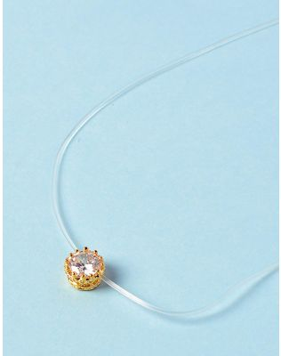 Чокер из лески с кристаллом в кулоне | 233713-08-XX