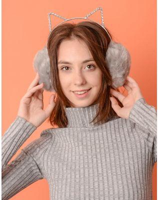 Навушники хутряні з вушками на обідку | 237267-11-XX