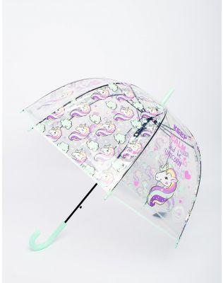 Зонтик с принтом единорога и тростью полуавтоматом | 229700-37-XX