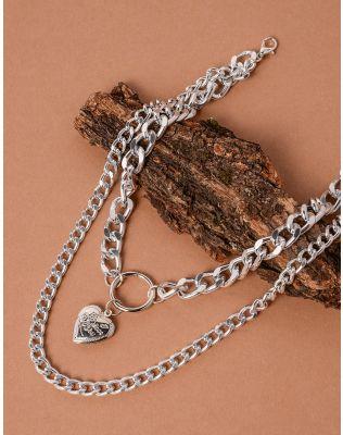 Підвіска на шию з подвійного ланцюга та з медальоном у вигляді серця | 238069-05-XX
