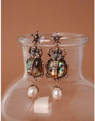 Сережки у вигляді жука з перлиною   237621-24-XX