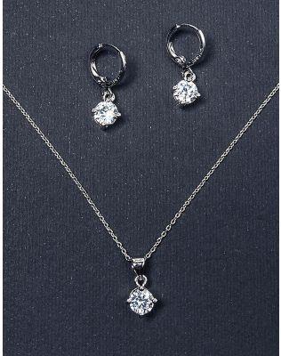 Комплект з підвіски та сережок з кристалами | 223635-06-XX