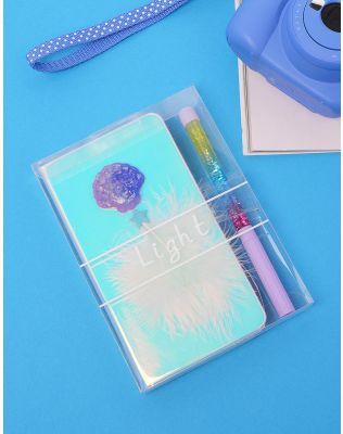 Набір з ручки та блокноту у клітинку з мушлею та пером | 234675-03-XX