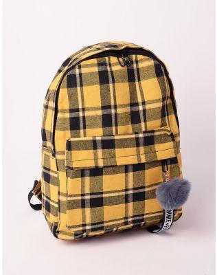 Рюкзак у клітинку з хутряним брелоком на кишені   238481-19-XX