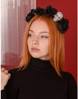 Обідок для волосся на хелоуін з квітами та маскою | 238988-02-XX