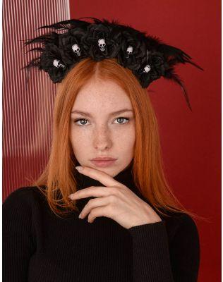 Обідок для волосся на хелоуін з квітами та черепами | 238987-02-XX